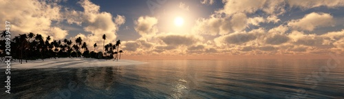 panorama of the beach with palm trees at sunset, sea sunrise, 3D rendering