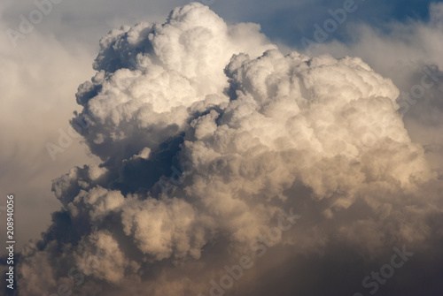 Cumulonimbus in dramatic sunset and mountain silhouette in central america, Guatemala. - 208940056