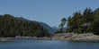 Trees along the coastline with mountain range in the background, Tonquin Beach, Tofino, Vancouver Island, British Columbia, Canada