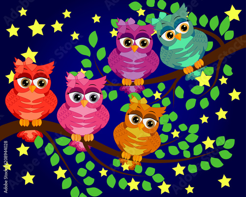 Fotobehang Uilen cartoon Good Night and Sweet dreams.Night scene with moon,stars and owl.Owl on the branch.Moon made from stars.Nature.