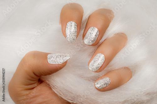 Fotobehang Manicure white glittered nails