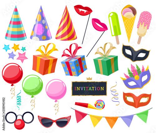 Celebration party carnival festive icons set.