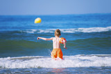funny boy swimming in the sea in summer - 208945815