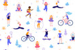 People in the park seamless pattern white background. Children doing activities and sports outdoor flat design vector illustration. Women doing yoga, stretching, fitness outside isolated.