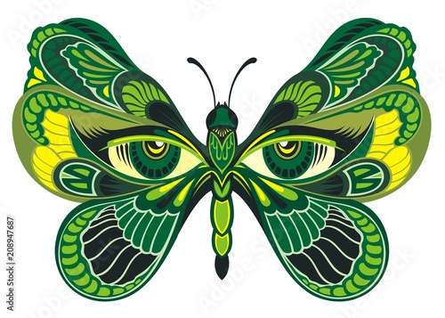 Colorful abstract butterfly for greeting card, coloring book, invitation, posters, texture backgrounds, placards, banners.
