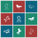 Collection of 9 stallion filled and outline icons - 208948606
