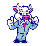 Cow Business Mascot Design Vector