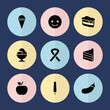 Set of 9 sweet filled icons