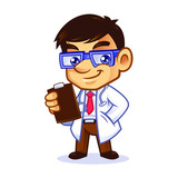 Doctor Geek Mascot Design Vector - 208954822