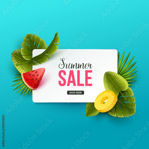 Summer sale background with tropical fruits and palm leaves. Vector illustration. - 208956885