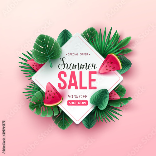 Summer sale background with tropical fruits and palm leaves. Vector illustration. - 208960875