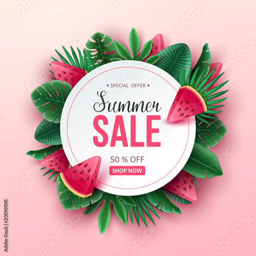Summer sale background with tropical fruits and palm leaves. Vector illustration. - 208961041