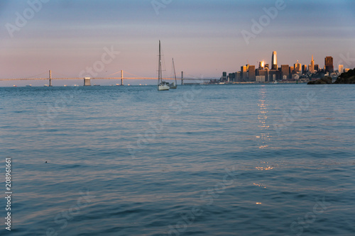 Sunset over San Francisco and the Bay Bridge as seen from Angel Island in the bay - 208961661