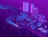 Vector 3d isometric train on road in megapolis with skyscrapers. City parking for cars in violet colors. Buildings with place for helicopter, bridge with ultraviolet lighting. Park in town. - 208963236