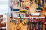 Workshop of wood with a large amount of instruments and tools. - 208963411