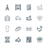 Collection of 16 old outline icons
