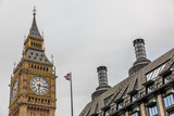 High part of the Big Ben Clock Tower in a cloudy day. London, England - 208967605