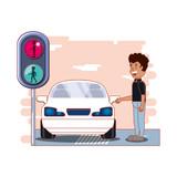 driver safely campaign label vector illustration design - 208969405