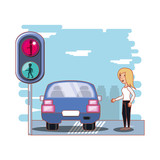 security of pedestrian in the road vector illustration design