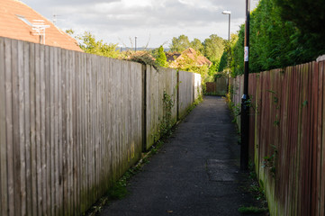 Alleyway at the rear of a number of houses with wooden fences © Stephen