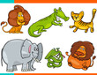 set of cartoon funny animal characters - 208972484