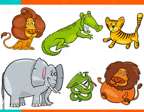 Poster set of cartoon funny animal characters