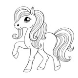 Cute little pony. Black and white vector illustration for coloring book