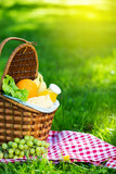 Picnic basket with vegetarian food in summer park - 208973289