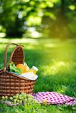 Picnic basket with vegetarian food in summer park - 208973291