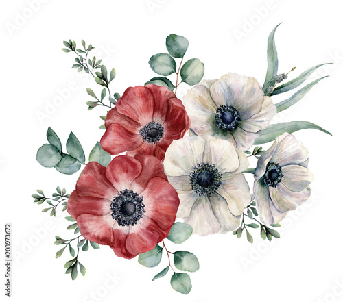 Watercolor red and white anemone bouquet. Hand painted colorul flowers, eucalyptus leaves isolated on white background. Illustration for design, fabric, print or background. - 208973672