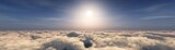 Over the clouds, a panorama of the sunset in the clouds,