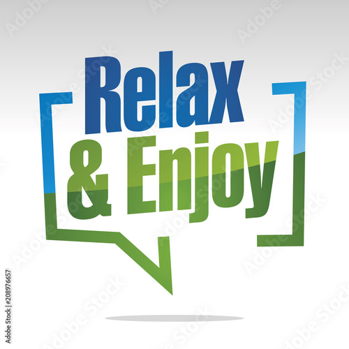 Relax and enjoy in brackets blue white green isolated sticker icon - 208976657