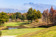 Scenic Golf Course In Autumn Fall in Mountains Birds Eye Landscape