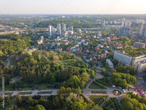 Canvas Kiev A bird's eye view, panoramic view from the drone to the view of the central alley of the Botanical Garden and the construction of the Pechersk district in the city of Kiev, Ukraine