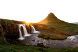 Colorful sunrise on Kirkjufellsfoss waterfall. Amazing morning scene near Kirkjufell volkano, Iceland, Europe. Landscape photography - 208982200