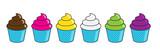 Set cupcake o gelati con bicchierino di vari gusti e colori  - 208982297