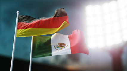 3D Illustration. Two national flags waving on wind. Night stadium. Championship 2018. Soccer. Germany versus Mexico