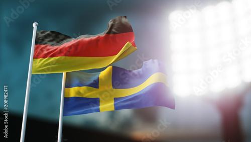 Leinwanddruck Bild 3D Illustration. Two national flags waving on wind. Night stadium. Championship 2018. Soccer. Germany versus Sweden