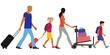 traveling family, baggage handling
