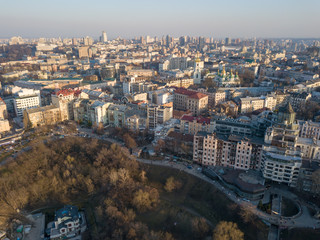 Panoramic aerial view from the drone, a view of the bird's eye view of the the central historical part of the city of Kiev, Ukraine, with old buildings of the city.