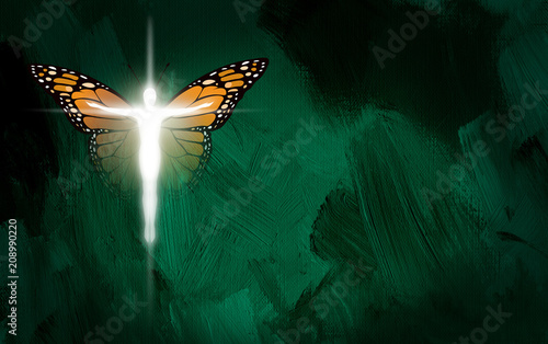 Leinwanddruck Bild Graphic Christian Cross with man body and Butterfly wings. Conceptual illustration of new life in Christ.