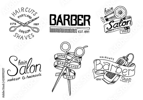 Set of barbershop badge and label, logo and hipster emblems. Tools for man icon. Haircut of beard and mustache. Brush and razor for shaving. Engraved hand drawn in old vintage sketch. Modern Lettering