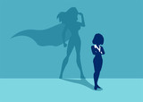 Vector of a strong business woman imagining to be a super hero - 208992840