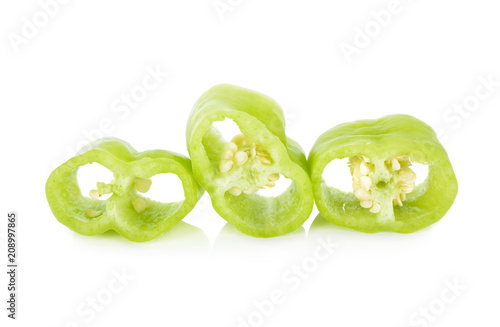 Aluminium Hot chili peppers portion cut fresh green chili peppers with seeds on white background