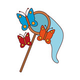 Butterflies catcher cartoon vector illustration graphic design