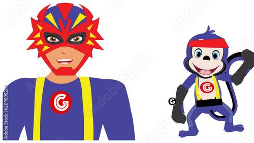 Fotobehang Aap Monkeyman and Monkey