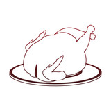 Roasted chicken on dish vector illustration graphic design - 209006275
