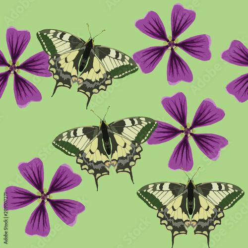 Texture of flowers and butterflys. Seamless pattern - 209007271