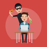 Hacker stealing money hacking accounts vector illustration graphic design - 209008462