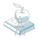 Book with apple and compass blue and white vector illustration graphic